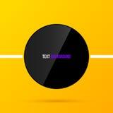 Plantilla redonda negra del marco de texto en fondo amarillo brillante en estilo corporativo moderno EPS10 Imagen de archivo