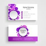 Plantilla redonda violeta moderna de la tarjeta de visita Imagenes de archivo