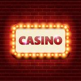 Plantilla retra de la bandera del casino con brillar intensamente de la bombilla Imágenes de archivo libres de regalías