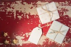 Plantilla retra de la etiqueta de la caja de regalo del concepto de la tarjeta del día de fiesta Fotografía de archivo libre de regalías