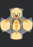 Plantilla retra del cartel de la abeja del vintage Imagenes de archivo