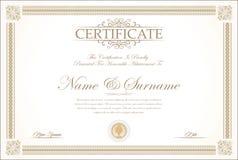 Plantilla retra del certificado o del diploma Foto de archivo libre de regalías