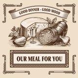 plantilla retra del diseño de la disposición del anuncio de la comida de la Aún-vida Fotografía de archivo libre de regalías