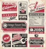 Plantilla retra del diseño de los anuncios de periódico Imagen de archivo