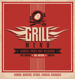 Plantilla retra del diseño del cartel del menú de la parrilla Fotografía de archivo libre de regalías