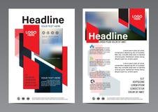Plantilla roja abstracta del diseño del aviador del informe anual del folleto del bloque Foto de archivo