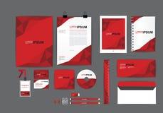 Plantilla roja de la identidad corporativa para su negocio Foto de archivo libre de regalías