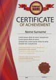 Plantilla roja del certificado o del diploma con el sello de la cera Vertical roja Fotos de archivo libres de regalías
