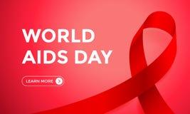 Plantilla roja del fondo del diseño de la bandera del web de la cinta del Día Mundial del Sida para el día del mundo de la concie Imagen de archivo