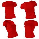 Plantilla roja en blanco de la camiseta de las mujeres Foto de archivo
