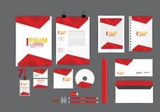 Plantilla roja y amarilla de la identidad corporativa para su negocio Fotografía de archivo libre de regalías