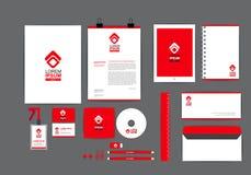 Plantilla roja y blanca de la identidad corporativa para su negocio Imagen de archivo libre de regalías