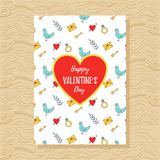Plantilla romántica de la tarjeta de felicitación del día del ` s de la tarjeta del día de San Valentín del St Fotos de archivo libres de regalías