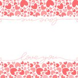 Plantilla rosada de la bandera de los corazones stock de ilustración