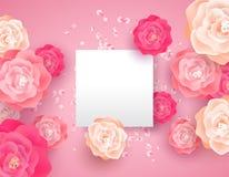 Plantilla rosada de la tarjeta de la flor de la primavera con el espacio de la copia stock de ilustración