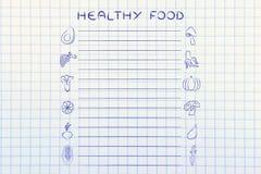 Plantilla sana de la lista del ultramarinos de la comida Imagen de archivo libre de regalías