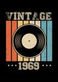 Vintage 1969 vinyl retro poster apparel distressed vector illustration