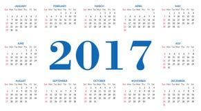 Plantilla simple 2017 del calendario stock de ilustración