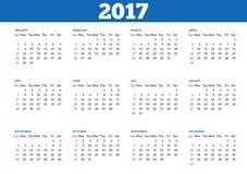 Plantilla simple 2017 del calendario libre illustration