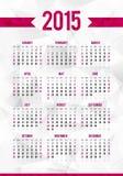 Plantilla simple del calendario de 2015 años en extracto Imagen de archivo