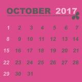 Plantilla simple del calendario de octubre de 2017 libre illustration