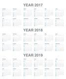 Plantilla simple del calendario para 2017 a 2019 Foto de archivo libre de regalías