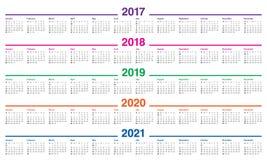 Plantilla simple del calendario para 2017 a 2021 Foto de archivo libre de regalías