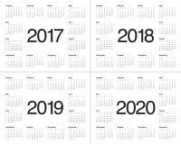 Plantilla simple del calendario para 2017 a 2020 Foto de archivo libre de regalías