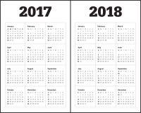 Plantilla simple del calendario para 2017 y 2018 Imagen de archivo
