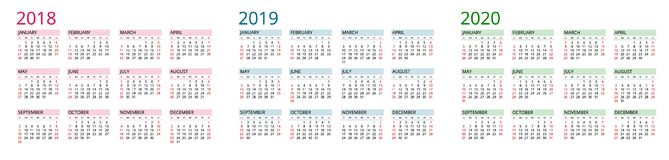 Plantilla simple del calendario para 2018, 2019 y 2020 La semana empieza de domingo Ejemplo plano del vector del color del estilo libre illustration