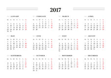 Plantilla simple del calendario por 2017 años Foto de archivo
