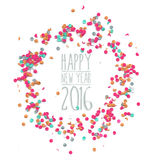 Plantilla simple 2016 del partido del confeti de la Feliz Año Nuevo Imagen de archivo