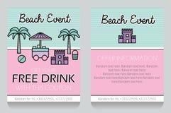 Plantilla temática del vale de regalo del evento de la playa Libre Illustration