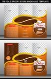 Plantilla triple del folleto de la tienda de la panadería Fotografía de archivo libre de regalías