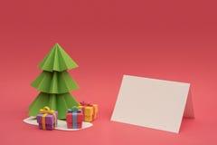 Plantilla vacía cortada papel del árbol hecho a mano de la Navidad Imagenes de archivo