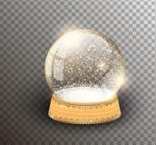 Plantilla vacía del globo de la nieve del vector aislada en fondo transparente Bola de la magia de la Navidad Bóveda de la bola d ilustración del vector