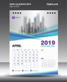 Plantilla 2019, vector del calendario de escritorio de abril del diseño del aviador, disposición púrpura azul del concepto ilustración del vector