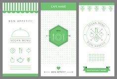 Plantilla vegetariana del diseño de tarjeta del menú del restaurante Fotografía de archivo