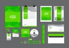 Plantilla verde de la identidad corporativa para su negocio Fotografía de archivo