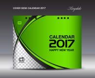 Plantilla verde del diseño del calendario de escritorio de la cubierta 2017, calendario 2017 Imagenes de archivo
