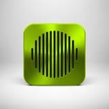 Plantilla verde del icono del App con textura del metal Fotos de archivo libres de regalías