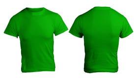 Plantilla verde en blanco de la camisa de los hombres Fotografía de archivo libre de regalías