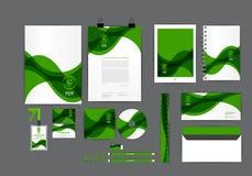 Plantilla verde y blanca de la identidad corporativa para su negocio Imagen de archivo