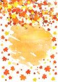 Plantilla vertical de la bandera del otoño con el espacio en blanco para su texto Cartel estacional de la caída con las hojas col Foto de archivo libre de regalías