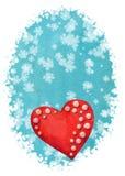 Plantilla vertical de la tarjeta de la acuarela con el corazón rojo en backgro azul stock de ilustración