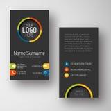 Plantilla vertical oscura moderna de la tarjeta de visita con la interfaz de usuario plana Imágenes de archivo libres de regalías