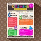 Plantilla vibrante colorida linda del menú de los niños en estilo del periódico ilustración del vector
