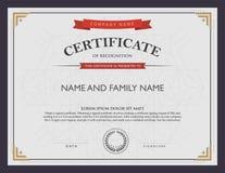 Plantilla y elemento del certificado foto de archivo libre de regalías