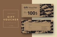 Plantillas abstractas de moda de la tarjeta del vale de regalo Cou moderno del descuento ilustración del vector