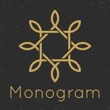 Plantillas agraciadas mínimas del diseño del monograma Fotos de archivo